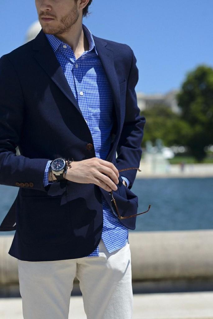 dark-blue-blazer-check-shirt